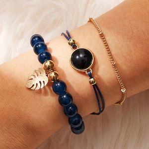 Jewelry - LEILA Navy + Gold Beaded Boho Bracelet 3 pc Set